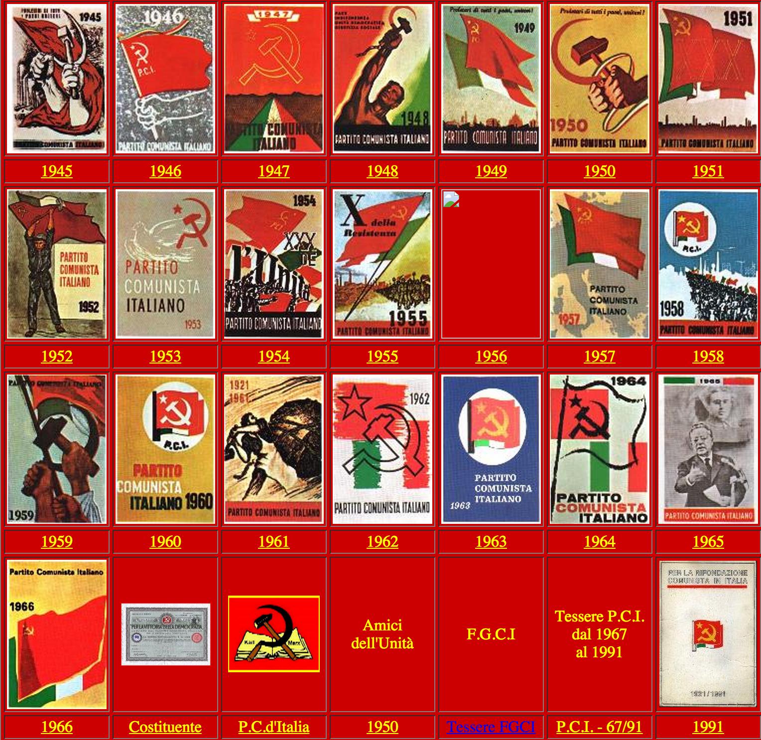 Tessere P.C.I. dal 1945 al 1966
